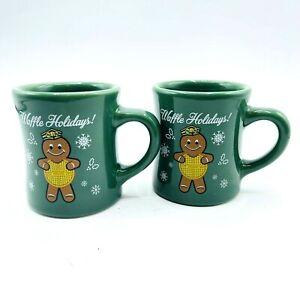 Lot of 2 Waffle House Tuxton 2016 Ginger Bread Green Holiday Coffee Mug