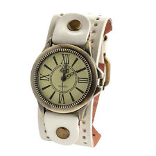 Vintage Mens Womens Steampunk Watches Big Wide Leather Wristband Strap Br haka