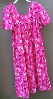 Daffodil Women's Small Patio Dress Lounge Duster Muu Muu Palms Tropical Pink Blk