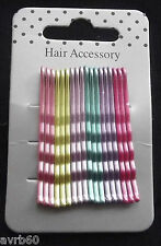 hairgrips pretty mixed bright colours kirby pins 18 on a card new 4.5 cms