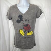 Disney Parks Mickey Mouse Women's Medium T Shirt Gray V Neck Walt Disney World M