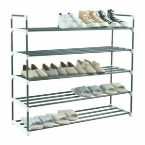 5 Tier Shoe Rack Stand Storage Organiser Shelves Lightweight Compact Space Save