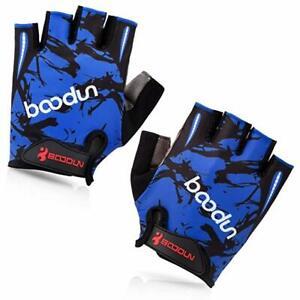 BOODUN Cycling Gloves with Shock-absorbing Foam Pad Half Finger blue1