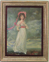 VINTAGE  IMPRESSIONISM PORTRAIT GIRL IN LANDSCAPE  OIL PAINTING ON CANVAS  1960s