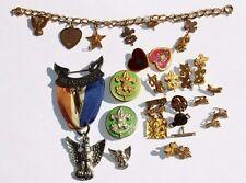 Boy Scout  America Pin Charm Collection Lot Eagle Scout Medal 29 pc +GF bracelet