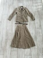 EUC Max Mara Brown Overcoat Blazer and Skirt Suit Sz 4 Button Down With Pockets