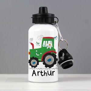Personalised Tractor Childrens Drinks Water Bottle Boys School Nursery Gift Son