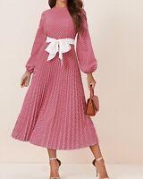 Round Neck Bishop Sleeve Long Sleeve Belted Polka Dot Elegant Pleated Dress
