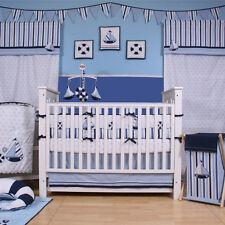 Baby 9 PC Sailor Crib Set Bedding Sheets Mobile Valance Nautical Cotton Nursery
