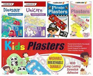75 x PLASTERS WATERPROOF KIDS PIRATE DINOSAUR UNICORN PRINCESS DURABLE BREATHE