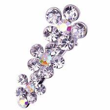 QUALITY Hair Clip Claw using Swarovski Crystal Hairpin Flower Silver Bridal AB