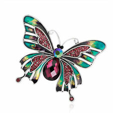 Beautiful Colored Butterfly Retro Silver Plated Rhinestone Glass Drip Brooch Pin