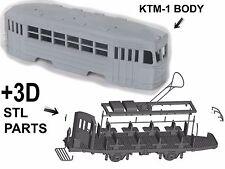 KTM-1 Straßenbahn Gehäuse + 3D STL parts  Triebwagen Tram Streetcar 1:87 H0