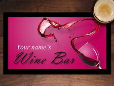 Personalised BAR MAT Wine Bar Ladies Gift BAR RUNNER Customised name