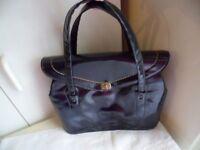Rockabilly Vintage 1950s navy blue patent leather handbag hand bag Pinup purse