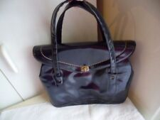Rockabilly Vintage 1950s navy blue patent leather handbag hand bag Pinup purse