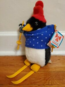 Vintage 1986 Applause Percy Penguin On Skis Holiday Winter Plush 21230 - w/ Tags
