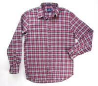 NEW $175 NEW ENGLAND RED GRAY PLAID BORELLI BRUSHED BUTTON DOWN SHIRT SIZE M