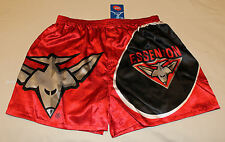 Essendon Bombers AFL Mens Red Black Printed Satin Boxer Shorts Size L New