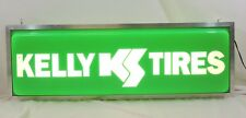 "KELLY TIRES Double Sided Lighted Sign 36"" X 12"" X 6""  Green & White DAMAGED"
