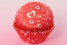 100x, 2'' Cupcake Liners Baking Cups, Red Hearts, Standard Size, Valentine's day