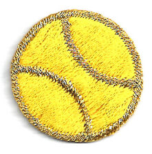 "Iron On Patch/Gold & Yellow Embroidered 1"" Tennis Ball"