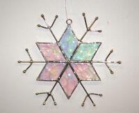 J Devlin Glass Art Clear Iridescent Star Snowflake Ornament/Suncatcher NIB