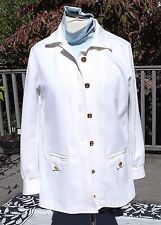 GIVENCHY Sport Womens 2 Piece WHITE   Pants Suit Blazer Jacket  12/14 Polyester