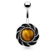 Flower with Center Tigers Eye Stone Surgical Steel Navel Belly Button Ring 14g