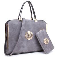 Women Handbags Faux Buffalo Leather Briefcase Laptop Bags Satchel w/ Wallet