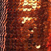 "Deep Orange Metallic Sequin Trim 6mm 1/4"" wide stitched, strung by the yard 15'"