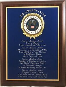 """7x9"""" US AIR FORCE AIRMAN'S CREED PLAQUE - GREAT GIFT OR AWARD !"""