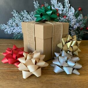 KRAFT Eco Friendly Large Paper Christmas Gift Bows Recyclable Natural Red Gold