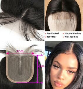 4x4 Lace Closure Middle Part 30g/set Straight Hair Weave 8 inch Remy Human Hair