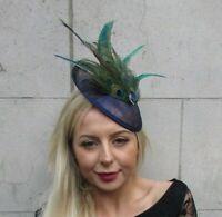 Foncé Vert bouteille en velours marron Faisan Feather Hat Fascinator races Ascot 7903