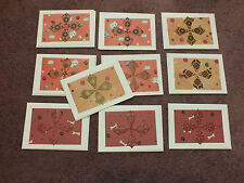 10 Handmade Teabag Greeting Cards Blank Reds Puppy Paw Prints 3.5 x 5 UNIQUE