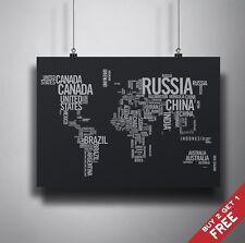 A3 Mappa del Mondo a parole POSTER STAMPA FOTO SU CARTA Casa Decorazione Murale IDEA REGALO