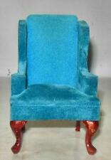 VINTAGE QUEEN ANNE WING CHAIR MAHOGANY FINISH DOLLHOUSE FURNITURE MINIATURES