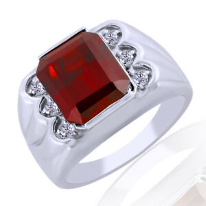 Red Ruby & White Topaz Solitaire Engagement Men's Band Ring 925 Sterling Silver