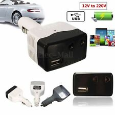 Universal Car Charger Inverter Adapter DC-AC Power Converter w/USB Port Outlet