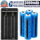 4X 3000mAh 3.7V Battery Rechargeable Li-ion Batteries for Torch Headlamp Light