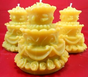 5 Wedding Cake 100% Pure Filtered Beeswax 3.5 inch Candles Gift Favor