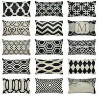 """12x20"""" Vintage Black PILLOW COVER Lumbar Double-Sided Decorative Cushion Case US"""