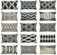 """12x20"""" Vintage Black PILLOW COVER Lumbar Double-Sided Home Decor Cushion Case US"""