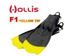 """HOLLIS F1 - """"BAT FIN"""" YELLOW TIP SCUBA DIVING FINS"""