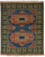 "Hand-knotted Turkish Carpet 4'2"" x 4'11"" Melis Traditional Wool Rug"