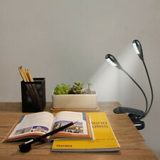 LED Light Clip-on Dimmable Bed Book Reading Lamp 2 Arms Flexible Music Stand AA