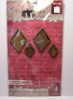 4 New Diamond Shape Bezels Hatpins Stick Pin fill w/ Ice Resin, Paper, Ephemera