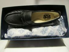 WOMEN'S SAS CLASSIC BLACK LEATHER SUPPORT SLIP ON SHOE NEW IN BOX 10 1/2 M