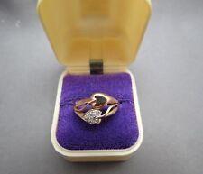Vtg 10K Plum Diamond Rose Gold Ring Size 6.5 Leaf Heart 3.17 Grams Tri Colored
